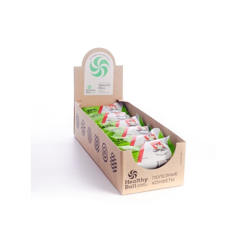 Полезные конфеты HealthyBall Protein мак-ваниль, 12шт.*28гр.