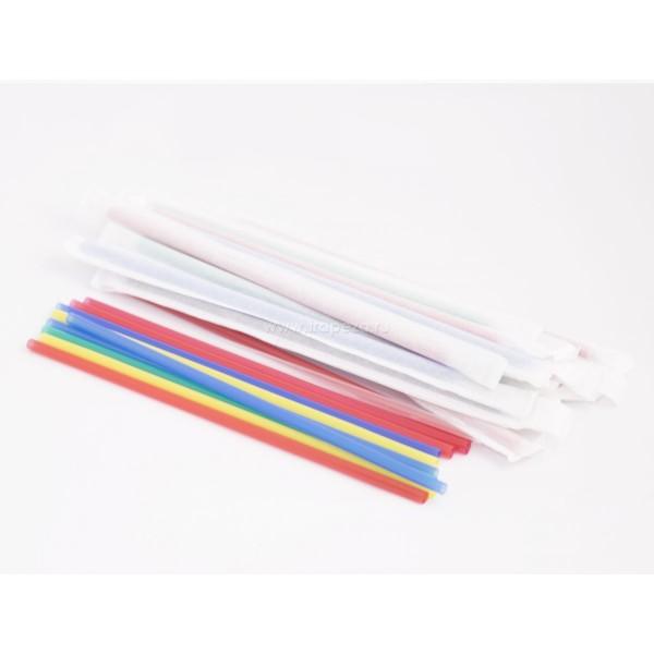 Трубочка для напитков в индивидуальной бумажной упаковке, цветные