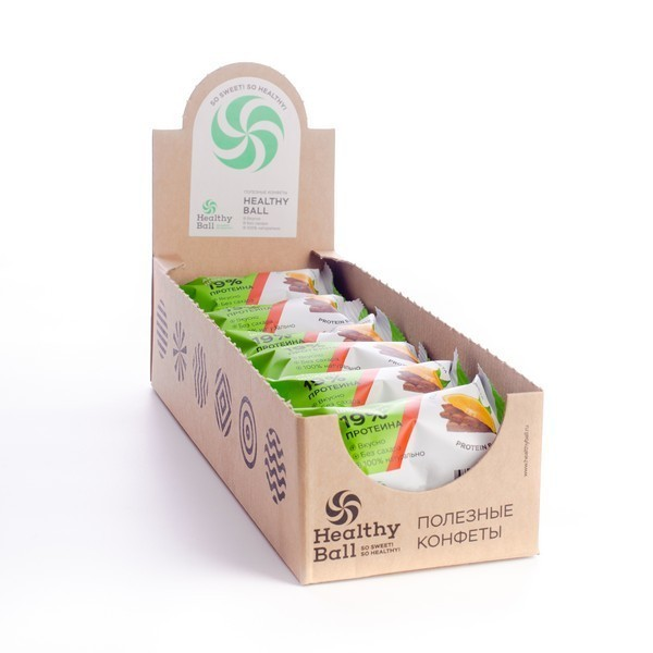 Полезные конфеты HealthyBall Protein апельсин-шоколад , 12шт.*28гр.